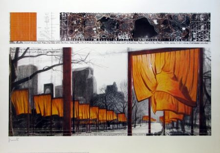 Lithograph Christo & Jeanne-Claude - The Gates, Project for Central Park, New York