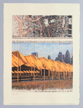 Lithograph Christo - 'The Gates, project for Central Park New York City