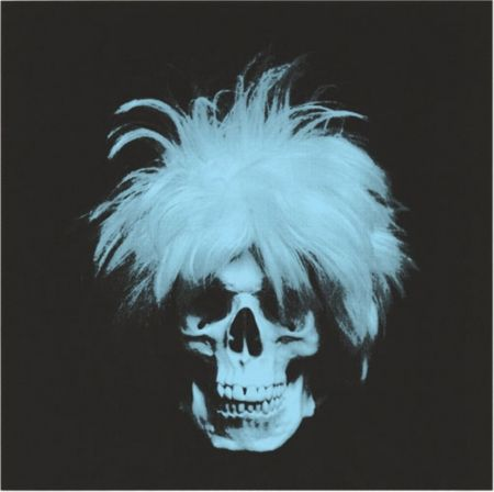 Screenprint English - The ghost of Andy Warhol - Blue on black