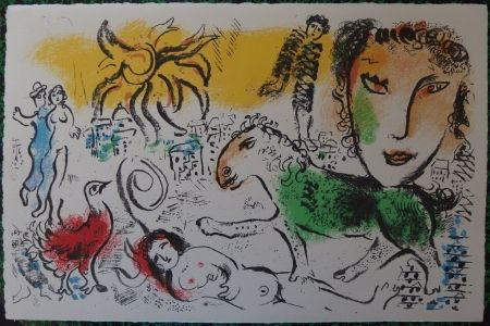 Lithograph Chagall - The green horse