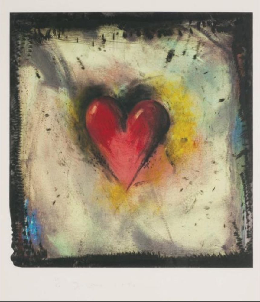 Etching And Aquatint Dine - The Hand-Colored Viennese Heart IV