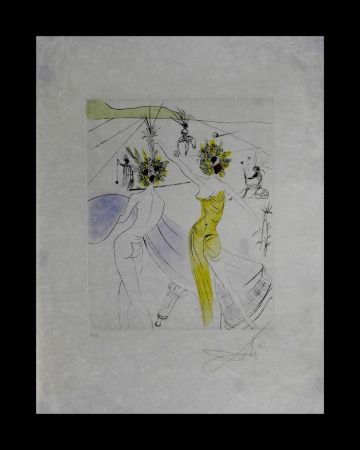 Etching Dali - The Hippies Flower-Woman at The Piano