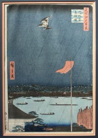 Woodcut Hiroshige -  The Komakado Temple and the Azumabashi Bridge