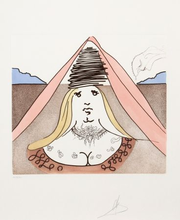 Etching Dali - The Lady Dulcinea from Historia de Don Quichotte de la Mancha
