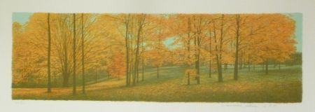 Lithograph Rodrigo - The Memory remains among the Indiana Woods