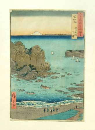 Woodcut Hiroshige - The Outer Bay at Choshi Beach in Shimosa Province
