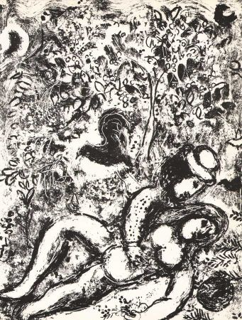 Lithograph Chagall - The Pair in a tree