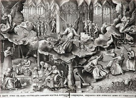 Engraving Brueghel - The Parable of the Wise & Foolish Virgins