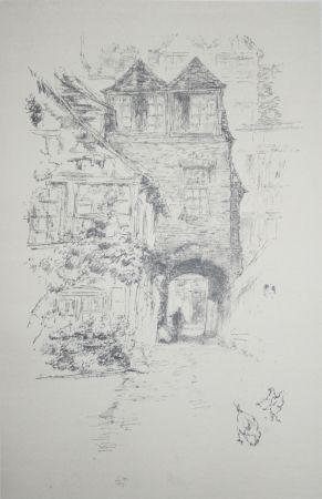 Lithograph Whistler - The Priest's House, Rouen
