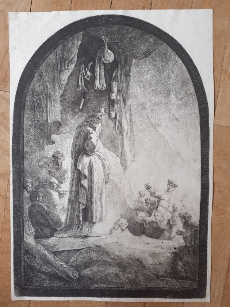 Etching Rembrandt - The Raising of Lazarus