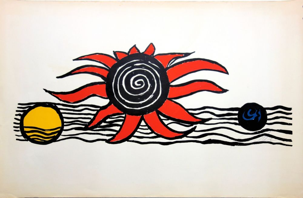 Lithograph Calder - The red sun