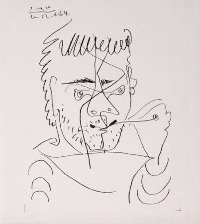 Lithograph Picasso - The Smoker, Daniel Henri Kahnweiler