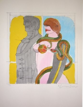 Lithograph Lindner - The Snake