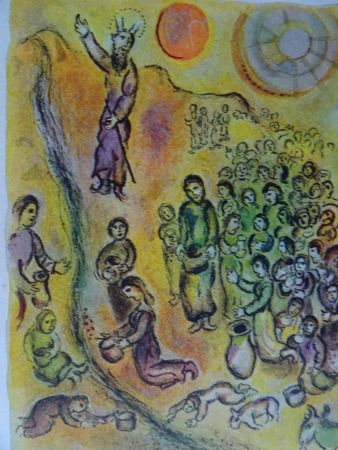 Lithograph Chagall - The Story of the Exodus, plate 12: Et tu touchera le Rocher..