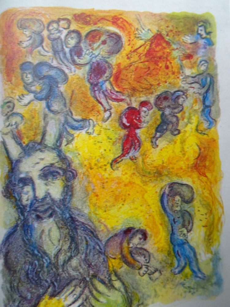 Lithograph Chagall - The story of the Exodus, plate 3:  En ces jours