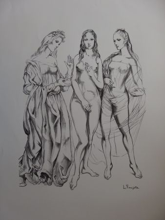 Lithograph Foujita - The Three Graces