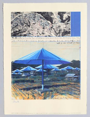 Lithograph Christo - The umbrellas, joint project for Japan and USA