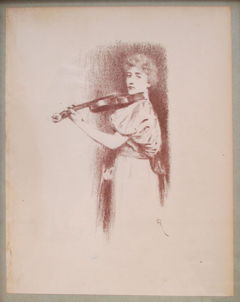 Lithograph Khnopff - The Violinist