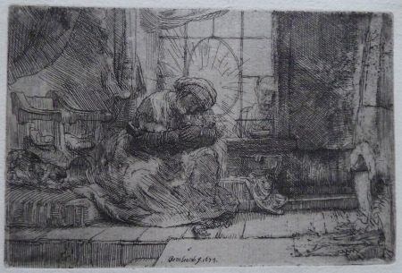 Etching Rembrandt - The Virgin and Child with the cat and snake.