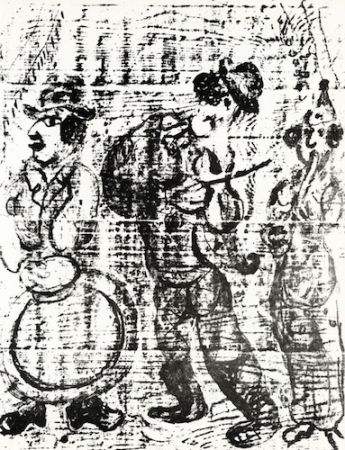 Lithograph Chagall - The Wandering Musicians