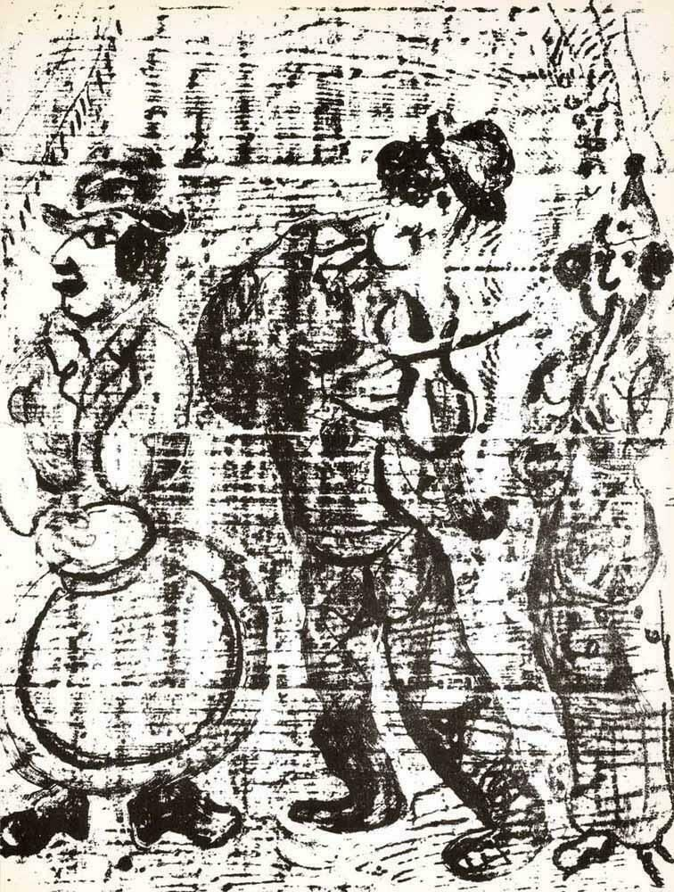 Lithograph Chagall - The Wandering Musicians M. 396