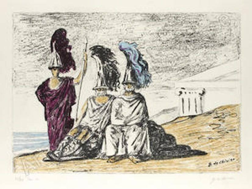Lithograph De Chirico - The warriors return from troy