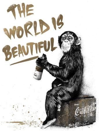 Screenprint Mr Brainwash - The World Is Beautiful