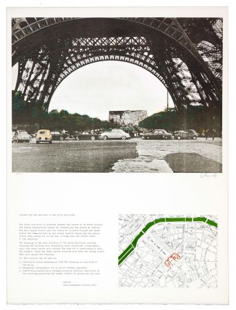 Lithograph Christo - The wrapping of the Ecole militaire