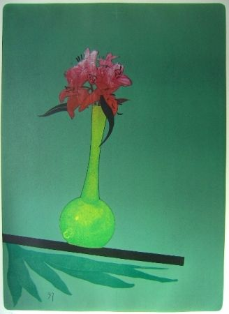 Lithograph Wunderlich - The yellow vase