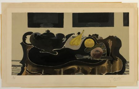 Collograph Braque - Theiere et Fruits
