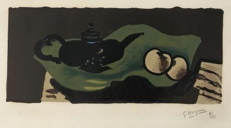 Lithograph Braque - Theiere et Pommes