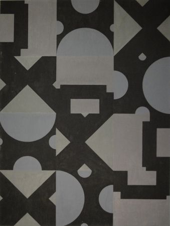Monotype Bosshard - Thema Kreis, Quadrat, Dreieck in Schwarz und Grau