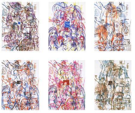 Lithograph Salle - Theme for an Aztec Moralist Portfolio