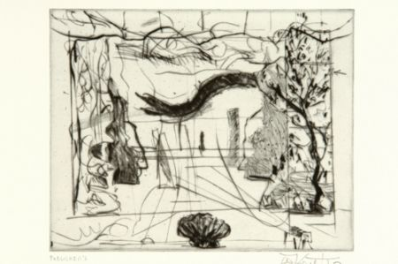 Drypoint Kentridge - Thinking Aloud, Small Thoughts, Stage Set With Serpent