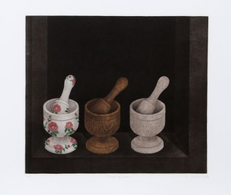 Mezzotint Hwang - Three Mortars and Pestle