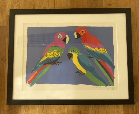 Linocut Ting - Three Parrots