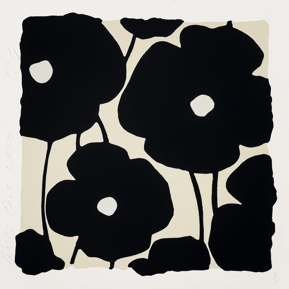 Screenprint Sultan - Three Poppies (Black)