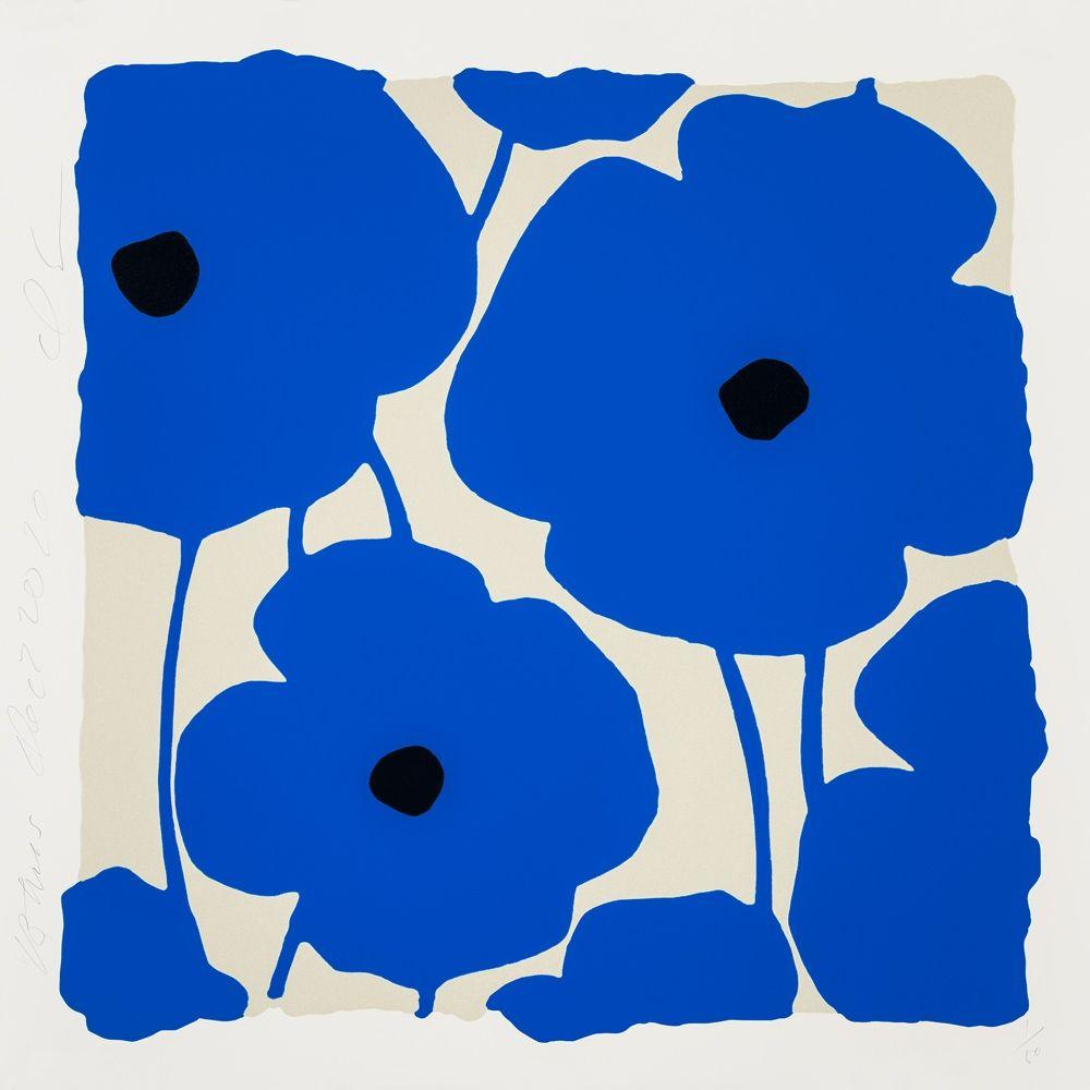 Screenprint Sultan - Three Poppies (Blue)