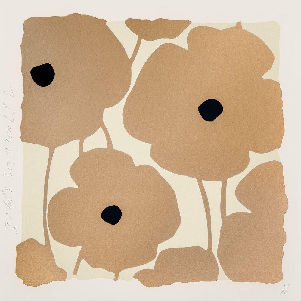 Screenprint Sultan - Three Poppies (Gold)