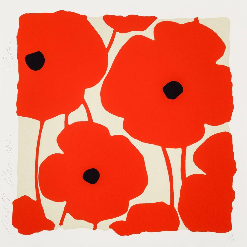 Screenprint Sultan - Three Poppies (Red)