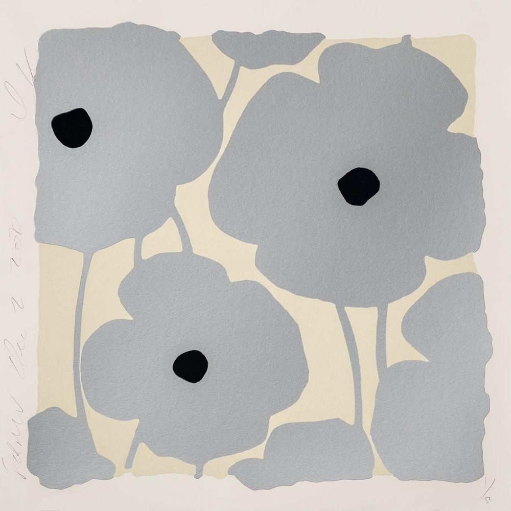 Screenprint Sultan - Three Poppies (Silver)