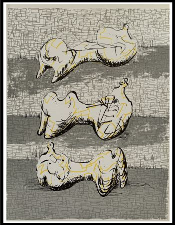 Lithograph Moore - Three Reclining Figures