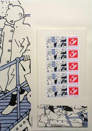 Offset Rémi - Tintin (Hergé) Kits d'écriture BATEAU & Timbres Belge