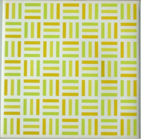 Screenprint Morellet - Tirets jaunes,jaunes-verts,jaunes orange