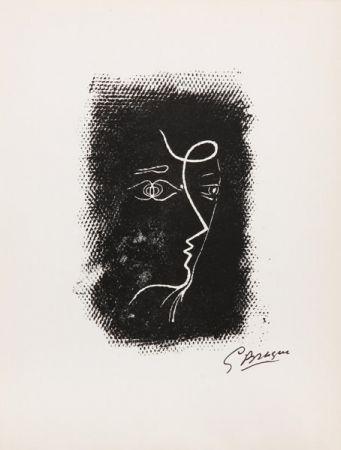 Lithograph Braque - Title: Profil de Femme from Souvenirs de Portraits d'Artistes. Jacques Prévert: Le Coeur à l'ouvrage (M.25)