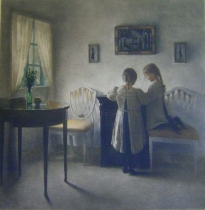 Mezzotint Ilsted - To legende smaapiger - Two little girls playing