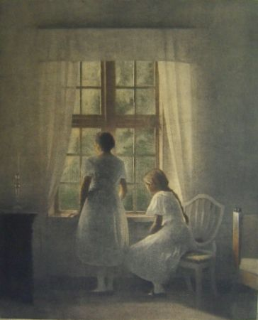Mezzotint Ilsted - To Smaapiger ved et Vindue - Two minor girls at a window