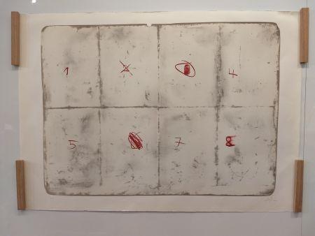 Lithograph Tàpies - Toile pliée etc chiffres