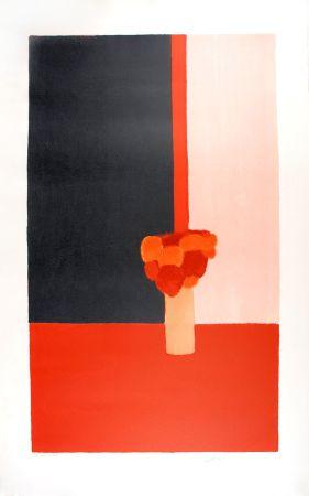 Lithograph Cathelin - Tokonoma rouge et noir - Red and black Tokonoma