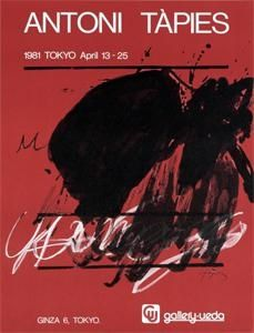 Poster Tàpies - Tokyo. April 13-25. Gallery Ueda